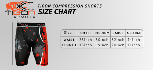 compression shorts size chart