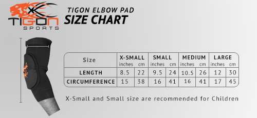 elbow pad size chart