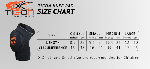 knee pad size chart