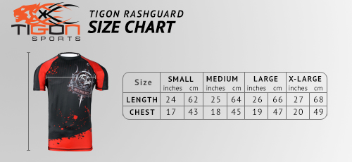 rash guard black size chart