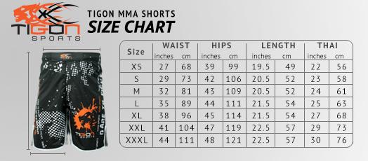 mma shorts size chart