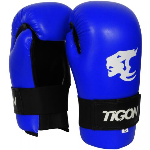 semi contact gloves blue